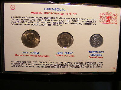 LUXEMBOURG - Three Different Uncirculated Coins - EACH OVER 50 Years OLD
