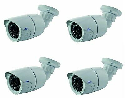 4x Telecamera Bullet CMOS 800 linee IR Giorno Notte con ICR 3,6 mm 23 LED CAM