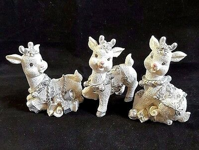 """Reindeer Figurines White Silver Sparkly Christmas Gifts Resin 3.5"""" tall Set of 3"""