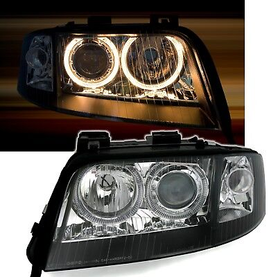 ANGEL EYES HEADLIGHTS LAMPS LHD RHD for AUDI A6 C5 01-04 with D2S XENON BLACK