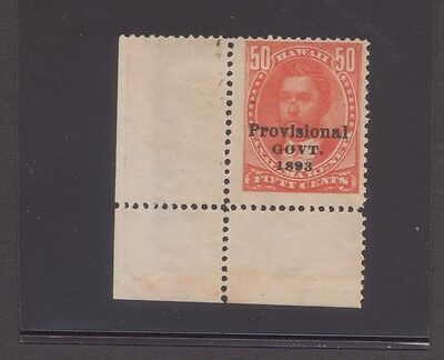 "Hawaii sc#72f ""double impression"" on 50c Provisional Govt 1893 w/pf cert nh og"