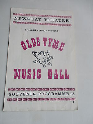 1967 Newquay Cornwall Olde Tyme Music Hall Newquay Theatre Programme