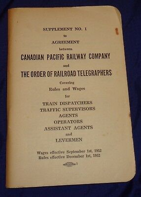 RT033 Canadian Pacific Railway & Order of Railroad Telegraphers 1952 Rules Book