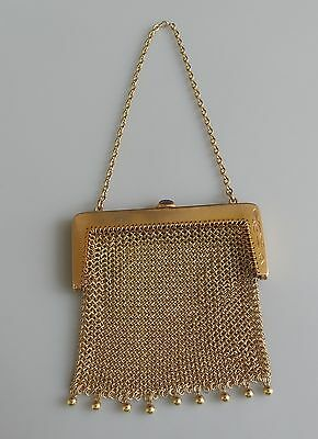 14k solid gold 1907 petite 51.5 gram mesh purse dangles & amethyst latch hallmkd