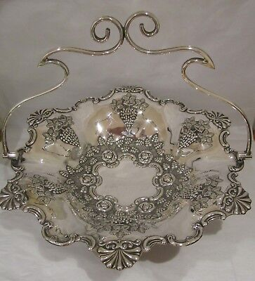 Antique Silver Plated Swing Handle Fruit Bowl Philip Ashberry Sheffield