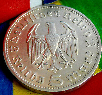 1936-A NAZI HINDENBURG 5 Mark .900 SILVER COIN-German WW2 GERMANY 5 ReichsMark
