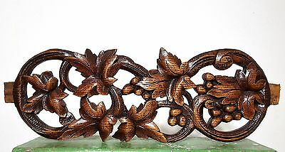 CARVED WOOD PEDIMENT ANTIQUE FRENCH COUNTRY GRAPES VINE SALVAGED CARVING 19th a
