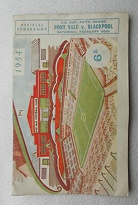 Port Vale fc v Blackpool fc 1954 FA CUP Fifth Round Football Programme