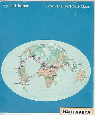 Lufthansa Airline Air Route Map 1971 Great Color Maps - Boeing Airplane Details