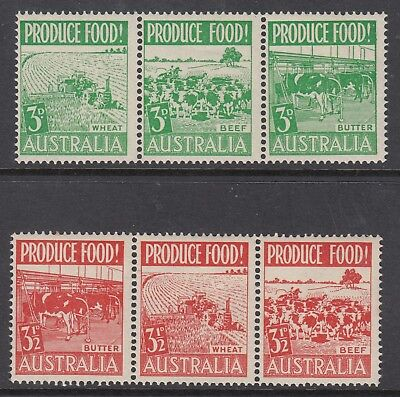1953 PRODUCE FOOD strips of 3 Mint Lightly Hinged