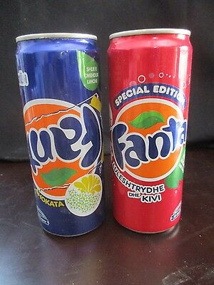 FANTA   ALBANIA:  2 X 330 ml  EMPTY SLEEK  CANS, DIFFERENT YEARS  or365