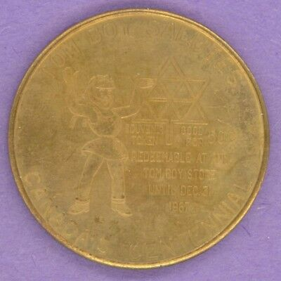 1967 SCARCE Tom Boy Stores Private Trade Token Canada Centennial Girl