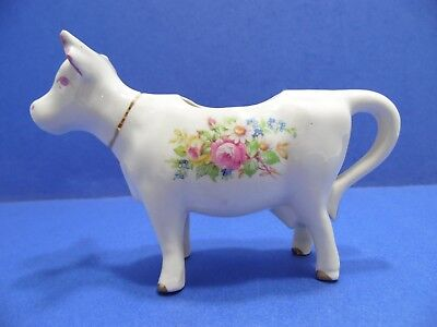 Vintage Cow Creamer White Porcelain Floral Gold Leaf Trim Shabby Cottage Style