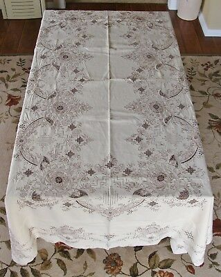 "Vintage Madeira Embroidery Cutwork Linen Tablecloth 100"" x 67"""