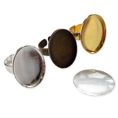 Quality 18x24mm GLASS Cameo OVAL RINGs Cabochon Trays Adjustable Bases Blanks