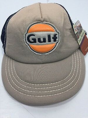a085caf835e Gulf Oil Gas SnapBack Mesh Foam Trucker Hat New Vintage Headwear Beige Tan