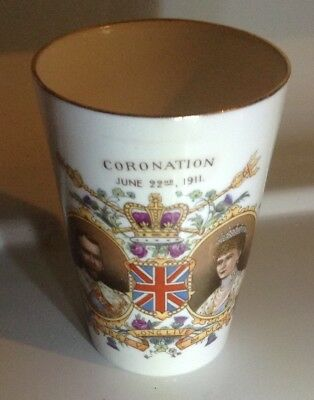 King George V and Queen Mary coronation beeker marked Shelley on base