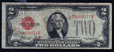 1928 D (Us) Two Dollar ( Red Seal Note ) ---- Very Nice-----