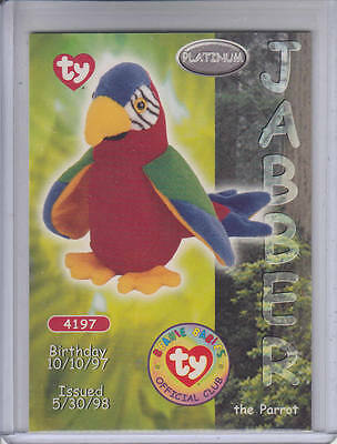 1999 Ty Jabber the Parrot Platinum Edition Beanie Babies card