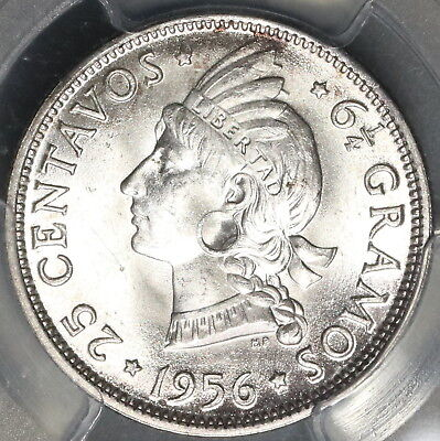 1956 PCGS MS 64 Dominican Rep Silver 25 Centavos Low Mintage Coin (16102303D)