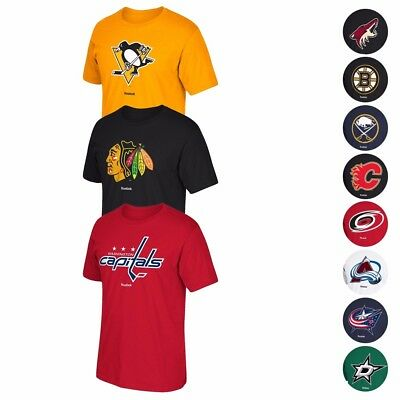 "NHL Reebok ""Jersey Crest"" Team Primary Logo Graphic T-Shirt Collection Men's"