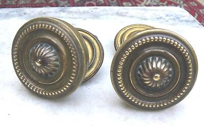 Pair Antique Original Reclaimed Brass Regency Door Knobs Pull~Furniture Handles