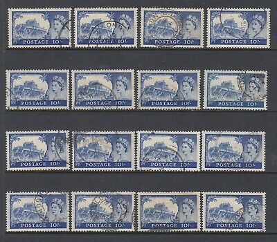 GREAT BRITAIN 1955-58 10/- QEII Watermark St Edward's Crown x 16 USED