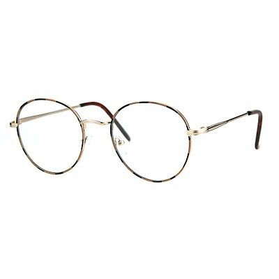 Unisex Clear Lens Glasses Vintage Fashion Round Oval Metal Frame Eyeglasses