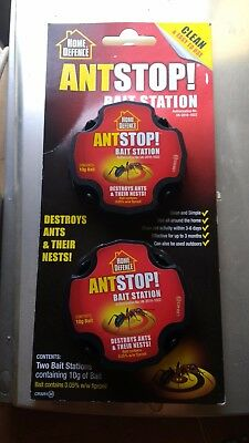 2 * Home Defence Ant Stop Bait Station containing 10g of Fiponil Ant Killer