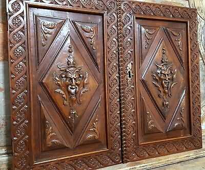 Hand Carved Wood Cabinet Panel Door Matched Pair Antique French Walnut Devil