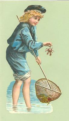 Large Victorian Die Cut Scrap, Young Boy Crab Fishing  P04
