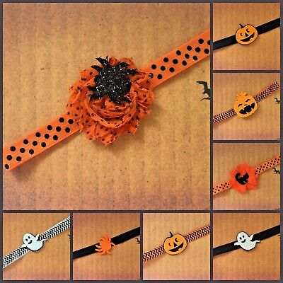 Baby Halloween Headband with Pumpkin Ghost Black Cat Spider Orange Polka Dot