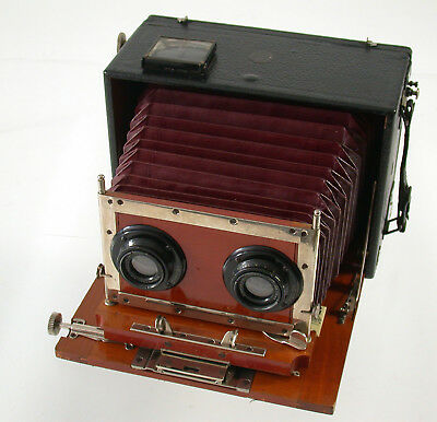 ERNEMANN Stereo Kamera camera Holz wooden red bellows F6 120mm Doppel-Anastigmat