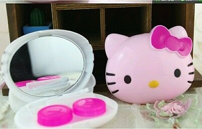 Hello Kitty Pink Cute Big Face Head Contact Lens Case Travel Set K161