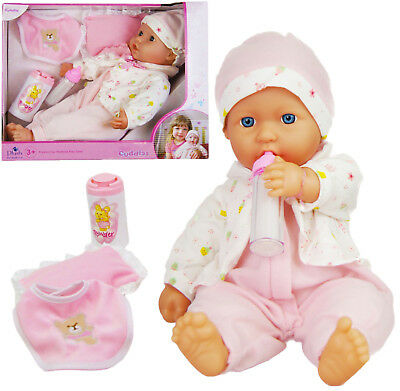 16 inch New Born Soft Bodied Baby Doll Toy with Outfit Milk Bottle Toy