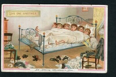 Victorian Christmas Card,6 Children in Large Bed,Pub.TUCK