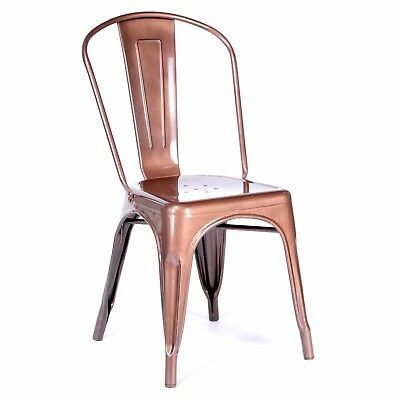 Tolix Metal Dining Chair Copper / Dark Rose Gold Cafe Stackable Factory Seconds