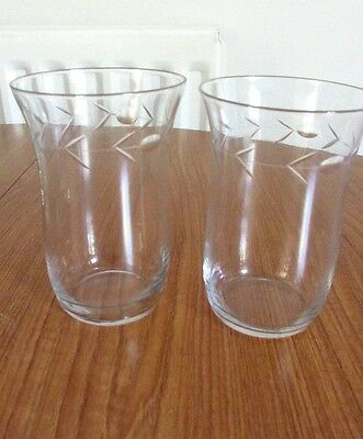 CUT GLASS TUMBLERS x 2