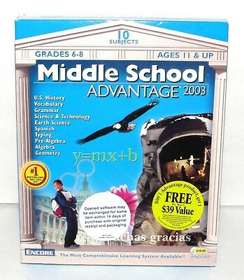 Encore Middle School Advantage 2003 5-CD Set Windows Grades 6-8 Ages 11 & UP NIP