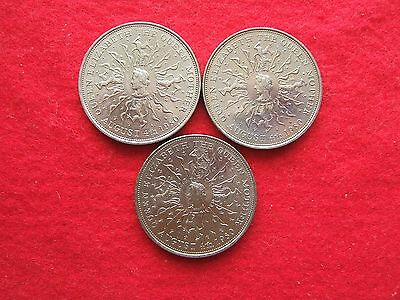 THREE 1980  'QUEEN MUM'S 80th BIRTHDAY'  COMMEMORATIVE  CROWN COINS ( 25 pence )