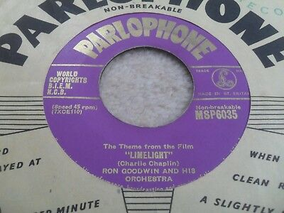 Ron Goodwin: Theme From Limelight 1953 Gold Parlophone 45 Rpm Ex+ 1St Issue