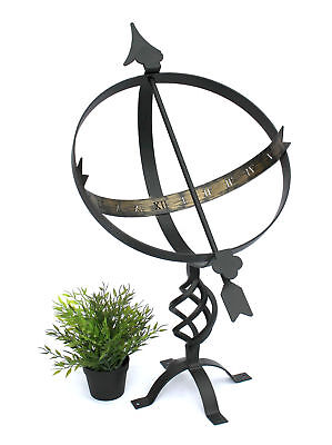 Sundial black made of metal blacksmithing weatherproof 72 cm Garden decoration