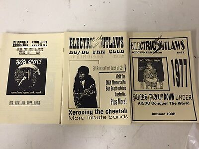Ac/dc ROCK Fanzines 3 In Total Rare Mint Condition