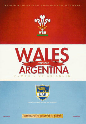 Wales v Argentina pre RWC warm up match 20 Aug 2011 RUGBY PROGRAMME