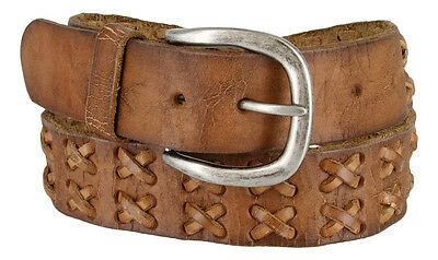 Vintage Distressed 100% Solid Leather Hand Laced Jean Belt