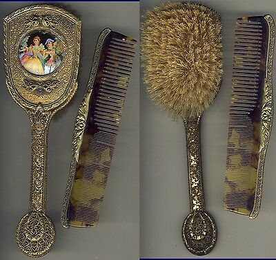 Czechslovakia Womens Brush Comb Mirror Set 1920s Ornate Metal Blown Color Glass