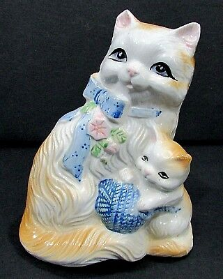 """Vintage hand painted porcelain Cat Kitten 6"""" tall figurine coin bank FREE S/H"""