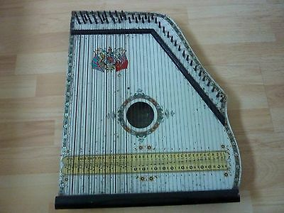 Antique Piano Harp Zither Royal Piano Harp Co. made in Saxony, old coat of arms