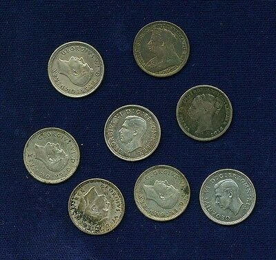 """England """"threepence"""" Coins: 1883, 1897, 1938, 1940, & 1943, Group Lot Of (8)"""