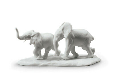 Lladro Following The Path (White) #9297 Brand New In Box Elephant Save$ F/sh